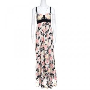 Temperley Beige Rose Printed Silk Contrast Trim Waterfall Gown M