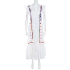 Temperley Off White Embroidered Cotton Poplin Spellbound Midi Dress XL