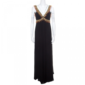 Temperley London Black Silk Chiffon Embellished Bodice Sleeveless Evening Gown S - used