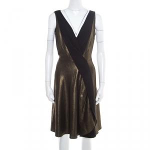 Temperley London Matte Gold Edom Lame V Neck Sleeveless Dress L - used