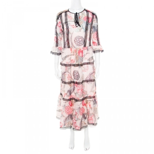 Temperley London Almond Dotted Jacquard Dobby Shire Printed Tiered Midi Dress M - used