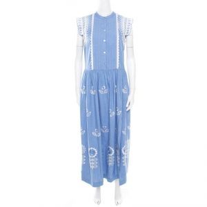 Temperley Blue and White Embroidered Scallop Detail Maxi Dress M - used