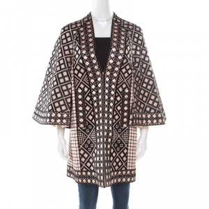 Temperley London Pink and Black Embroidered Silk Flared Sleeve A Line Coat S