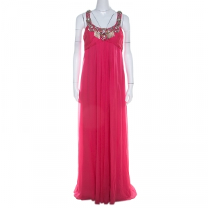 Temperley London Hot Pink Silk Ruched Embellished Bodice Evening Gown L - used