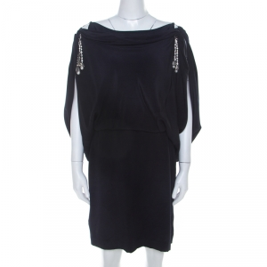 Temperley Navy Blue Silk Cowl Neck Bejeweled Strap Detail Dress L - used