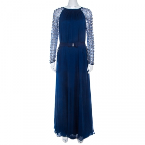 Temperley London Blue Embellished Silk Chiffon Belted Evening Gown L