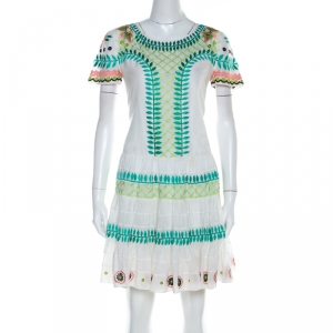 Temperley London White Embroidered Cotton Silk Arabelle Dress M