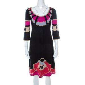 Temperley London Black Silk Blend Lurex Knit Flared Dress S - used