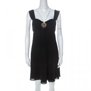 Temperley Black Silk Embellished Detail Gathered Bodice Babydoll Dress M - used