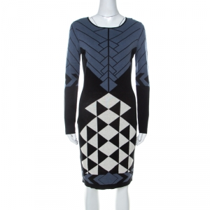 Temperley Black and Blue Knit Fitted Amedee Dress L