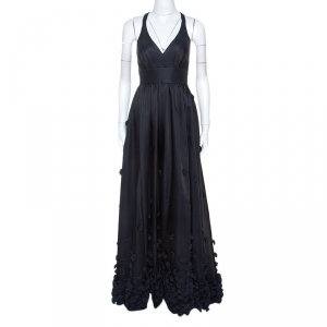 Temperley Black & Navy Blue Satin Floral Applique Detail Gown S - used