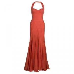 Temperley London Orange Crinkle Chiffon Evening Gown M used