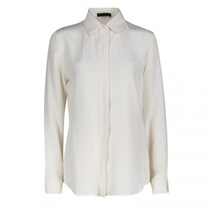 The Row Cream Silk Leather Trim Long Sleeve Button Front Shirt M