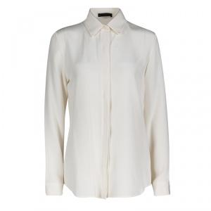 قميص ذا رو حرير كريمي حواف جلد أزرار أمامية أكمام طويلة M