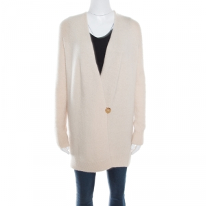 The Row Cream Silk Cashmere Wrap Front Eleset Cardigan XS