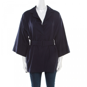 The Row Navy Blue Cotton Poplin Belted Hona Plunge Neck Blouse M