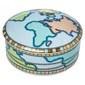 Tiffany & Co. Porcelain World Map Trinket Jewelry Box