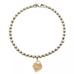 Tiffany & Co. Return To Tiffany Heart Tag Rose Gold & Silver Bead Bracelet
