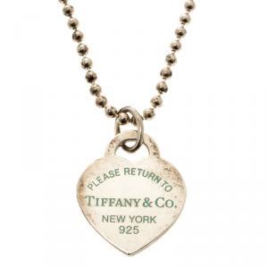 Tiffany & Co. Return To Tiffany Heart Tag Enamel Finish Pendant Silver Bead Necklace