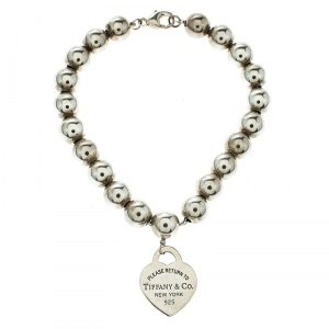 Tiffany & Co. Return To Tiffany Heart Tag Silver Bead Bracelet