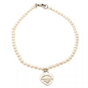 Tiffany & Co. Return To Tiffany Pearl Silver Heart Tag Bracelet