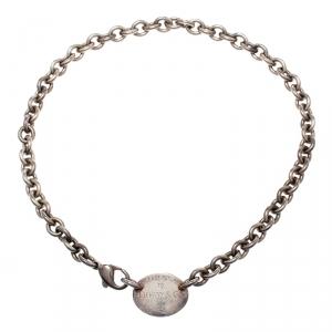Tiffany & Co. Return to Tiffany Oval Tag Silver Choker Necklace