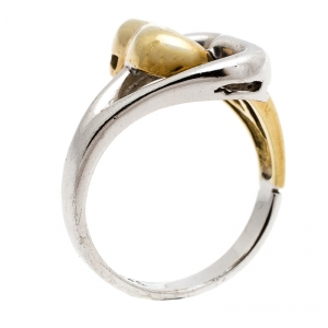 Tiffany & Co. Double Heart Silver & 18k Yellow Gold Ring Size 50.5