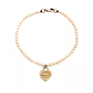 Tiffany & Co. Return to Tiffany Heart Tag Freshwater Pearl Silver Beads Bracelet