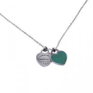 Tiffany & Co. Return to Tiffany Mini Double Heart Tag Silver Pendant Necklace