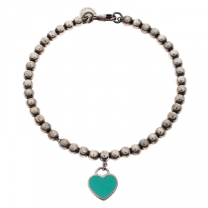 Tiffany & Co. Return to Tiffany Enamel Heart Tag Silver Beads Bracelet