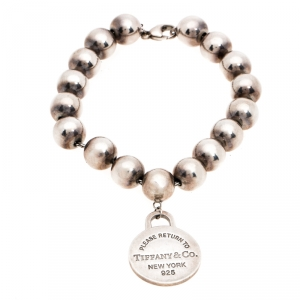 Tiffany & Co. Return to Tiffany Round Tag Silver Bead Bracelet