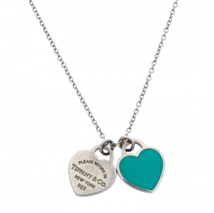 Tiffany & Co. Return to Tiffany Mini Double Heart Tag Silver Pendant Necklace