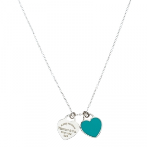Tiffany & Co. Return to Tiffany Mini Double Heart Tag Enamel Silver Pendant Necklace