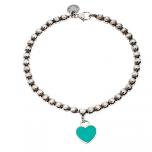 Tiffany & Co. Return to Tiffany Enamel Heart Tag Silver Beads Bracelet