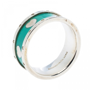 Tiffany & Co. Return To Tiffany Love Heart Blue Enamel Silver Band Ring Size 55