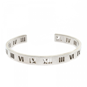 Tiffany & Co. Atlas Roman Numeral Sterling Silver Open Cuff Bracelet