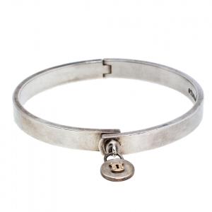 Tiffany & Co. Silver 18K Gold Round Lock Charm Bangle Bracelet