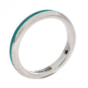 Tiffany & Co. Blue Enamel Inlay Silver Band Ring Size 55
