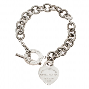 Tiffany & Co. Return To Tiffany Heart Tag Silver Chain Link Toggle Bracelet