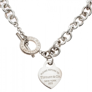 Tiffany & Co. Return To Tiffany Heart Tag Silver Chain Link Toggle Necklace