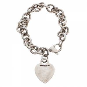 Tiffany & Co. Plain Heart Tag Silver Chain Link Bracelet