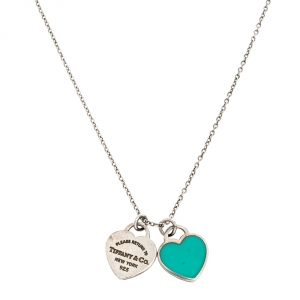Tiffany & Co. Return to Tiffany Mini Enamel Double Heart Tag Silver Pendant Necklace