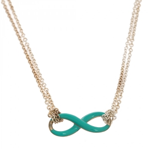 Tiffany & Co. Infinity Blue Enamel Silver Necklace