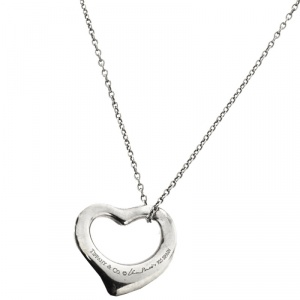 Tiffany & Co. Elsa Peretti Open Heart Silver Pendant Necklace