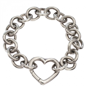 Tiffany & Co. Open Heart Silver Chain Link Bracelet
