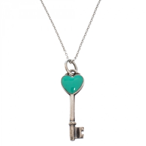 Tiffany & Co. Blue Enamel Heart Key Silver Pendant Necklace