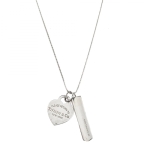 Tiffany & Co. Bar & Heart Tag Silver Dual Pendant Necklace