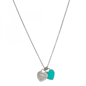 Tiffany & Co. Enamel Mini Double Heart Tag Silver Pendant Necklace