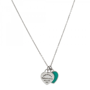 Tiffany & Co. Return to Tiffany Mini Double Heart Tag Pendants Enamel and Silver Chain Necklace