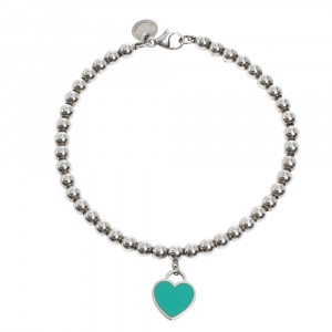 Tiffany & Co. Return to Tiffany Blue Enamel Heart Tag Silver Bead Bracelet